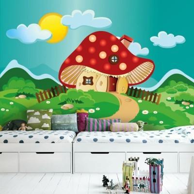 Κόκκινο στρουμφόσπιτο Παιδικά Ταπετσαρίες Τοίχου 84 x 125 cm