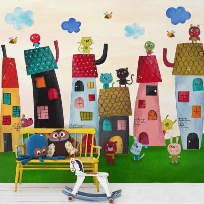 Χωριό με ζωάκια Παιδικά Ταπετσαρίες Τοίχου 100 x 100 εκ.