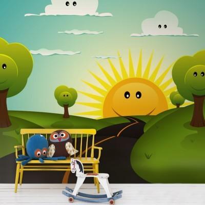 Δύση ήλιου Παιδικά Ταπετσαρίες Τοίχου 100 x 100 εκ.