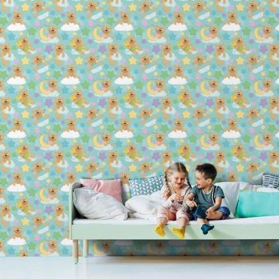 Αρκουδάκια Παιδικά Ταπετσαρίες Τοίχου 100 x 100 εκ.