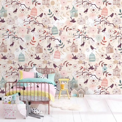 Μοτίβο με πουλιά Παιδικά Ταπετσαρίες Τοίχου 100 x 100 εκ.
