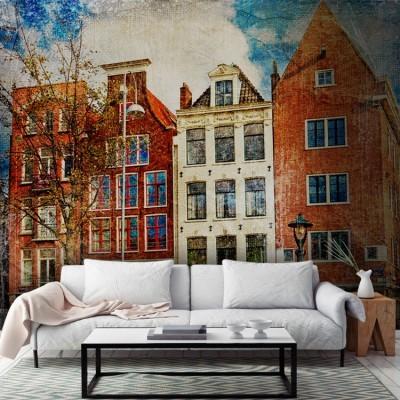 Vintage κτίρια στο Άμστερνταμ, Πόλεις - Ταξίδια, Ταπετσαρίες Τοίχου