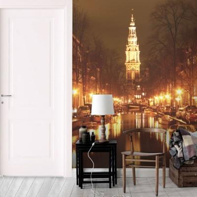 Νύχτα στο Αμστερνταμ Πόλεις - Ταξίδια Ταπετσαρίες Τοίχου 129 x 80 cm