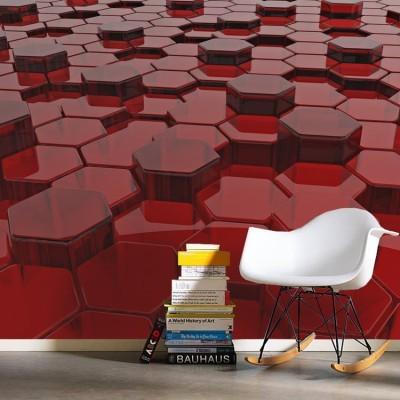 3d κόκκινα εξάγωνα Τεχνολογία - 3D Ταπετσαρίες Τοίχου 90 x 120 cm
