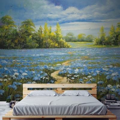 Χωράφι με ανθισμένα κενταυρέα Ζωγραφική Ταπετσαρίες Τοίχου 82 x 115 cm