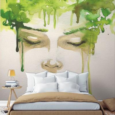 Ζωγραφιά γυναίκας κλειστά μάτια, Ζωγραφική, Ταπετσαρίες Τοίχου
